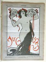 Nude Woman Theater Masks Jugend Magazine 1898 #29 Jugenstil Art Nouveau graphics