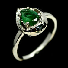 NATURAL GREEN EMERALD & WHITE CZ RING 925 SILVER STERLING SZ7.75