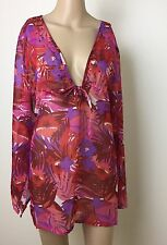 Womens Size 18 Over Bathers Shirt Beach Holiday Cruise Pool Pink Red Purple NWT