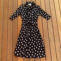 Perri Cutten Size S Black Silver Polka Dot Dress Faux Wrap Dress Cocktail V Neck