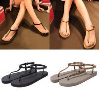 Fashion Women's Summer Beach Sandals T-Strap Toe Thong Flat Flip Flops Shoes Hot