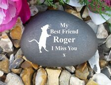 Memorial Pebble (Stone Effect)-Personalised Rat Design - Completely Weatherproof