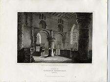 1814 Print;  View of Carlisle Cathedral Int, Cumbria,