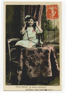 c 1913 Child Children LITTLE GIRL w/ Telephone photo postcard