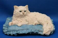 BORDER FINE ARTS WHITE PERSIAN CAT on BLUE CUSHION