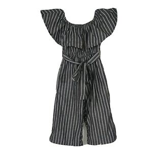 Baileys Blossom Jumpsuit Girls Size 12-18 Month Gray White Striped Belted NEW