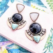 Beach boho blue turquoise & gold stone dangling cocktail statement stud earrings