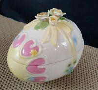 Vintage Easter Floral Decorated Porcelain Egg Covered Trinket Bowl