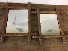 Lot de 2 miroir ancien en rotin vintage