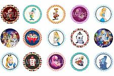 15 Pre-Cut Alice In Wonderland 1 Inch Bottle Cap Images