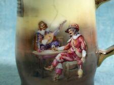 ANTIQUE Royal Bayreuth Scenic Musketeers Creamer Milk Jug Jar Signed