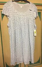 NWT Miss Elaine Woman Gown Plus Size 2X 20 22 Pretty Blue Flowers/Roses NEW