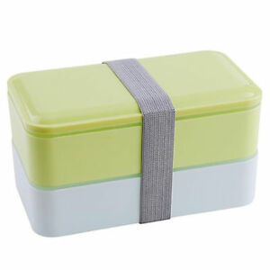 Bento Box Containers with Cutlery Double Stackable Lunch Box for Kids Adults TR