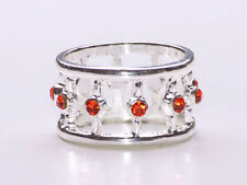SILVER METAL CIRCUS STACKING RING WITH SPARKLING TANGERINE GEMSTONES (ZX38)