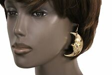 Women Earrings Set Gold Metal Fashion Jewelry Big Half Moon Face Charm Midnight