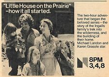 1976 TV AD~SERIES PILOT~LITTLE HOUSE ON THE PRAIRIE~MICHAEL LANDON w WRITE UP