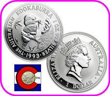 1993 Australia Kookaburra 1 oz. Silver Coin - BU direct from Perth Mint roll
