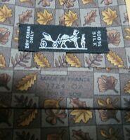 Men's Authentic Hermes Paris 7724 OA Brown Fall Autumn Silk Neck Tie France