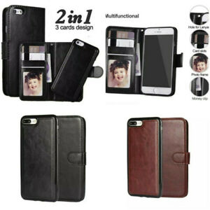 2 in 1 Case iPhone 12 11 XS Max XR 7 8-Magnetic Flip Leather Wallet Luxury Cover