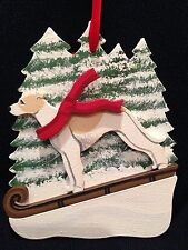 Tan/White Whippet Dog Wooden Ornament Made in USA New