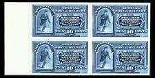 US #E2P4; 10¢ SPECIAL DELIVERY PLATE PROOF ON CARD , SUP-NGAI-NH, LM BLOCK OF 4