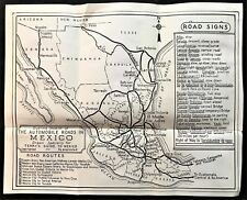 1947 AUTOMOBILE ROAD MAP in MEXICO ~ Spanish to English Sign Translations