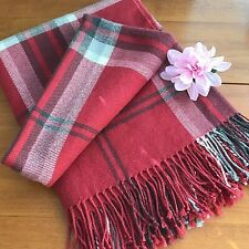 Pottery Barn Blanket Throw Knotted Fringe Brick Red Home Decor Plaid