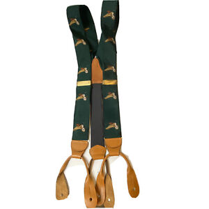 Royal New York Flying Geese Mens Adjustable Forest Green Suspenders Braces