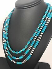 Navajo Blue Turquoise St Silver Necklace Gift Rare Removable 3 Strands   A393