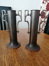 ANTIQUE ART DECO HAMMERED BURNISHED METAL VASES X PAIR