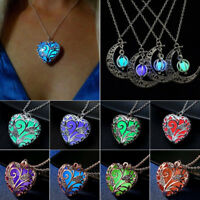 Luminous Magic Fairy Locket Heart Crescent Moon Glow In The Dark Pendant Necklac