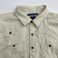 Old Navy Button Up Shirt Men's Size 2XL XXL Long Sleeve Tan Regular Fit Cotton