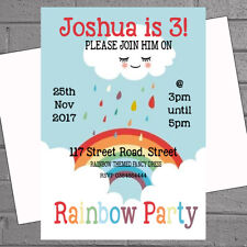 Rainbow Party Invitations Birthday Girls Childrens Kids Photo x 12 +envs H1845