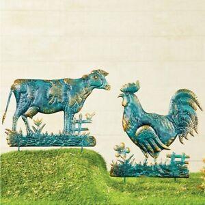 Antique Copper & Verdigris Finish Barnyard Farm Cow & Roster Garden Stakes