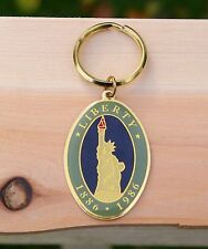 Statue Of Liberty 1886 1986 Gold Tone Metal & Enamel Keychain Torch 1982 NY