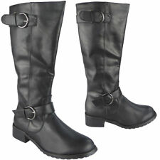 Womens Mid Calf Boots Ladies Buckle Rider Work Low Heel Zip Casual Shoes Size