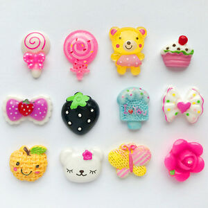 Mix Flatback Charms Resin Scrapbooking Cabochon Buttons Bear Kitty DIY Kawaii US