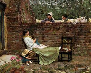 Gossip (1885) J.W. JW Waterhouse Pre-Raphaelite wall art print