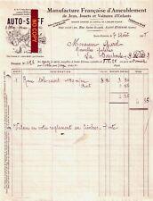 Beau Document du 07/08/1928 AUTO-SKIFF Ameublement jeux jouets - St-Etienne 42