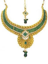Gold and Green Necklace Set Earrings Tikka Bollywood Indian Wedding Jewellery