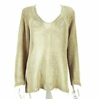 Oui Moments Beige Fine Knit Jumper No Sz Label V Neck Long Sleeve