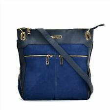 Ladies BLUE Handbag With Symmetrical Zipper Designer Bags for Woman Stylish UK