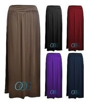 Womens Ladies Fold Over Waist Viscose Long Jersey Maxi Dress Skirt 8 10 12 14
