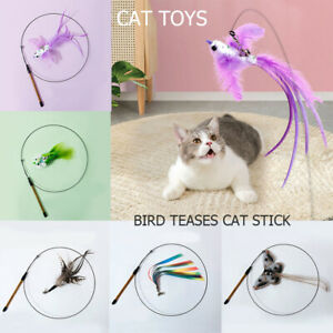 Multi Style Cat Teaser Fairy Feather Toy Fun Colorful Ribbon Pet Stick Supplies