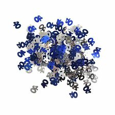 40th Birthday Party / Anniversary Table Confetti Decoration - Blue / Silver 14g