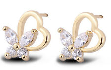 18 k Gold Plated Stud Earrings for Small Girls or Women Heart & Butterfly E751