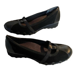 Sketchers Mary Jane Black Flat Comfort Shoes Size 8 Leather & Material Slip On