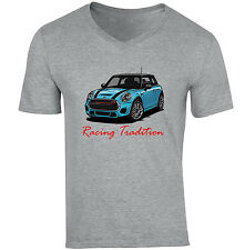 Mini Cooper Bleu Style Racing Tradition-neuf coton gris col V T-Shirt