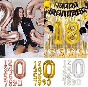 40'' Giant Foil Number Balloons Self Inflating Birthday Age Wedding Party Decor