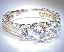 2.20 Ct Round Cut Forever Brilliant Bridal Engagement Ring Solid 14K White Gold